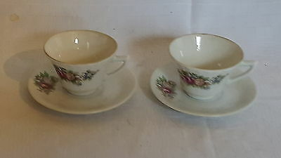 Chinese porcelain vintage Victorian oriental antique pair of cups & saucers