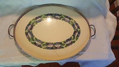 WMF silver plate & ceramic vintage Art Nouveau antique large gallery tray