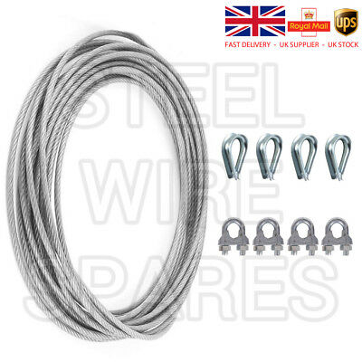 Gym Cable Wire Rope 4mm clear nylon 12 coated to 5mm 5 metre & accessories CAB10