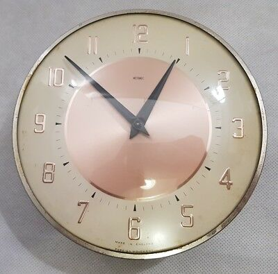 Vintage Metamec Gold Effect Circular Wall Mounted  Clock 1960s 8 Inches Diameter