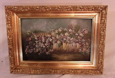 Antique victorian GOLD GILT frame with painting 10x14 3/4 holds 7 1/2 x 12