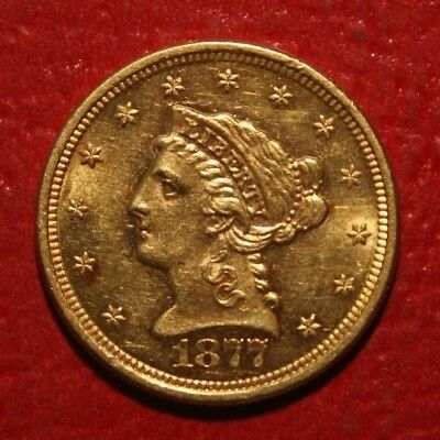 1877 S $2.5 Gold Liberty Head , AU , US Coin! Early Date!