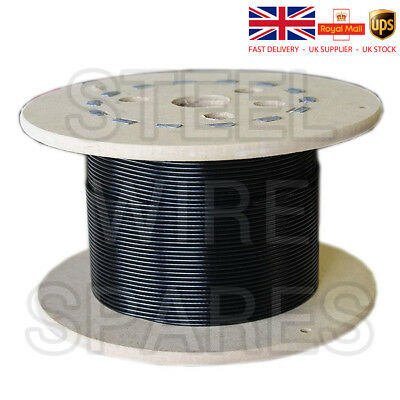 Gym Cable Wire Rope 5mm BLACK nylon coated to 6.5mm 100 metre reel Q250