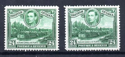 British Guiana 1938 Sg 312 and 312a 24c Blue Green Both Watermarks Mint Cat £30