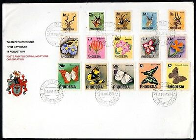 Rhodesia 1974 Definitives First Day Cover, Antelopes, Flowers & Butterflies