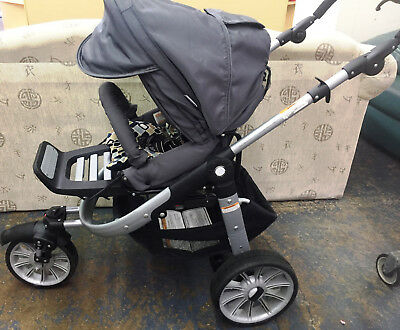 Teutonia Black Travel System Single Seat Stroller TB00EXP Made in Poland 02/2008