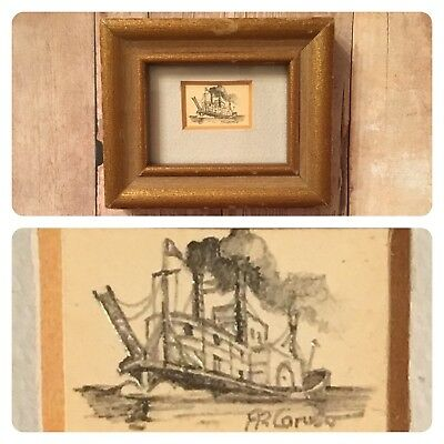 VTG Mini Steamboat Ship Signed Pencil Drawing? Frame FR Caruso Dollhouse Art Zak