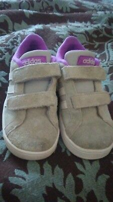 size 9 girls grey suede adidas neo purple lining and white stripes Velcro close