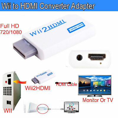 Wii Input to HDMI 1080P HD Audio Output Converter Adapter Cable 3.5mm Jack UK