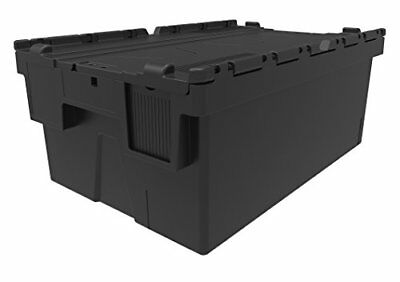 NEW BLACK 44 Litre Plastic Storage Boxes Containers Crates Totes with Lids ...