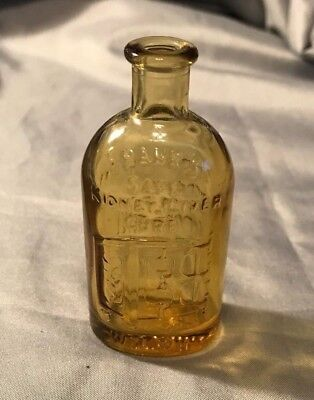 1970's Frank's Safe Kidney Liver Cure Wheaton 3 Inch Amber Bottle