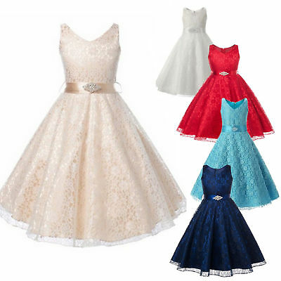 Flower Girl Dress Lace Vintage Princess Formal Pageant Wedding Birthday Party