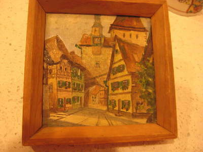 European 1800's Original Painting Rare Antique Titled Signed Miniature Framed