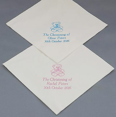 150 Personalised Christening/Baptism Napkins 33x33cm 2ply