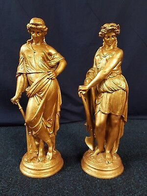 Large pair of 41.5cm tall gold cast metal Victorian fireside figures statuettes