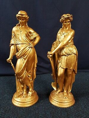 Large pair of gold heavy cast metal Victorian fireside figures statuettes