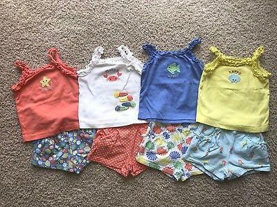 Lot of 8 Girl's GYMBOREE Mix & Match Camp Shorts Tanks + Hair Accessories sz 3T