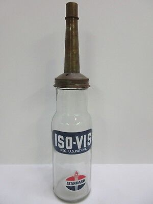 Vintage Standard Iso-Vis Glass Motor Oil Bottle Metal Spout With Cap