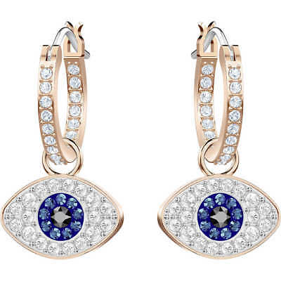 Swarovski Crystal DUO EVIL EYE  Hoop Pierced Earrings 5425857 New 2018