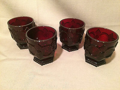 4 Avon Ruby Red 1876 Cape Cod Footed Tumblers 3.75""