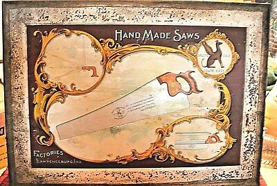 Rare-Antique Geo. H Bishop & Co.Metal -Hand Made Saws Sign-Speed& Ease Trademark