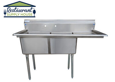 """Stainless Steel 2 Compartment Sink 56.5"""" x 24"""" with Right Drainboard NSF Cert"""