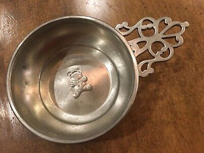 "Vintage ""Lunt Pewter""  Teddy Bear Porringer Model P-149"