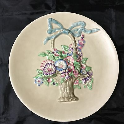 CLARICE CLIFF LARGE WALL PLAQUE MY GARDEN CANE BASKET OF FLOWERS EXC COND C1930s