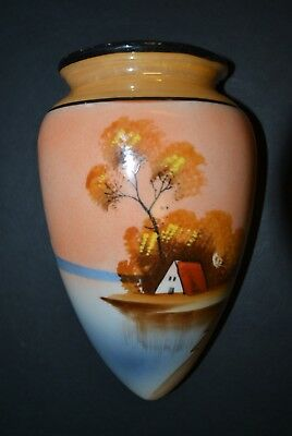 Vintage Japanese Hand Painted LusterWare Wall Pocket:Landscape Design with House