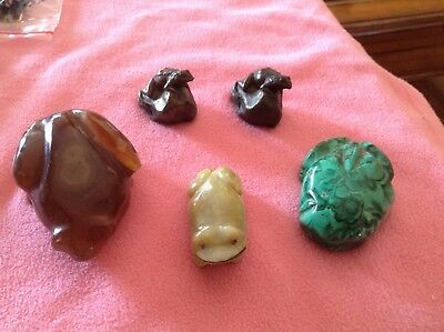 Lot Of 5 Frogs Amber Turqoise Jade Green Frogs