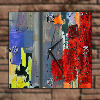 Old Wall Colorful Wood Artwork - Home Deco Decor Kitchen Living Room Wall Clock