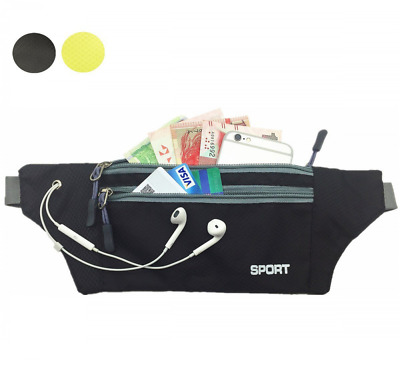 Pack Bag Belt Zip Pouch Opening for Passport,Phone,Wallet, Money,Credit Cards US