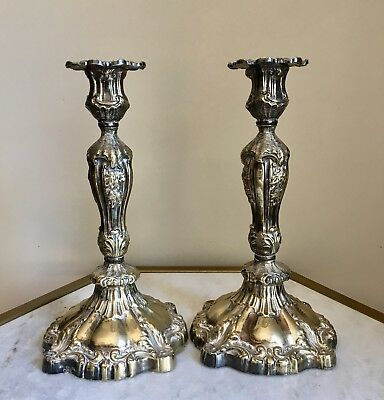 Vtg Ornate Solid Brass Candlesticks Victorian Traditionally Pair Set Candle
