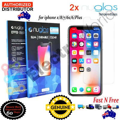 iPhone X 8 7 6 6S Plus 2X Genuine NUGLASS Tempered Glass Screen Protector