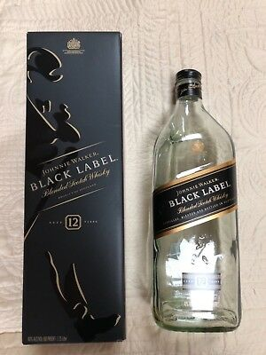 EMPTY JOHNNIE WALKER BLACK LABEL Blended Scotch Whisky Bottle and Box