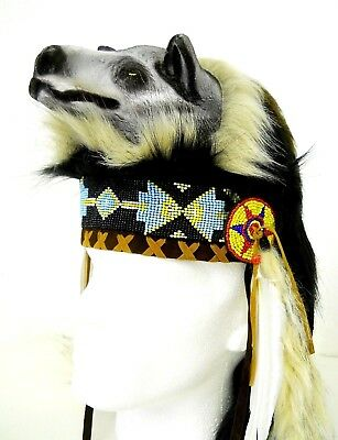 Amazing Quality Traditional Indian Chief Head Hat with Wolf One Size Costume