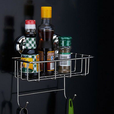 1pc Suction Bathroom Wall Accessories Shower Caddy Storage Basket with Hooks