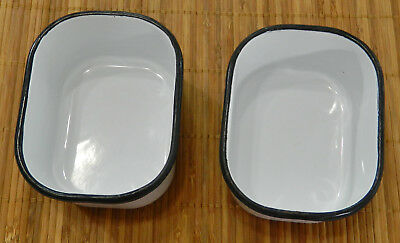 Pair of Vintage White with Black Trim Enamel Refrigerator Boxes