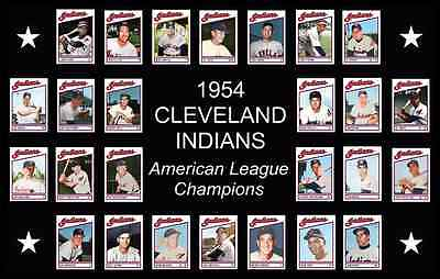 1954 CLEVELAND INDIANS Baseball Card POSTER Art Man Cave Decor Fan Xmas Gift
