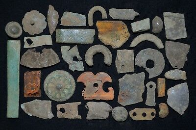 Group of over 30+ Ancient Viking Bronze Amulets. Detector Finds, c 950-1000 Ad.