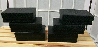 Jewelry Gift Retail Boxes Lot of 6 Black Swirl Cardboard Cotton Filled 3x2x1 New