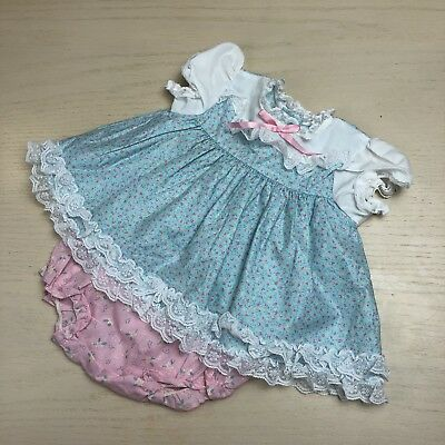 Vintage Sweet Treats Blue Floral Open Back Swing Top Pink Bloomers 9 12 Months