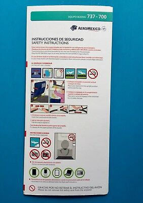 Aeromexico Safety Card--737-700 New Edition!!