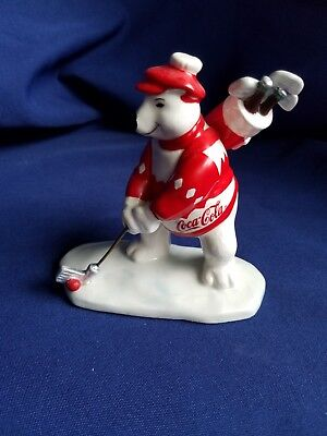 Vintage 1995 Coca Cola Polar Bear Golfer Golf Glass Figure by Enesco Fathers Day