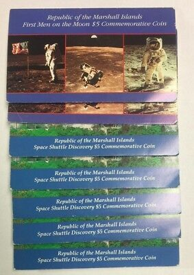 Lot of 7 Marshall Island Space Commemorative Coins W/ OGP