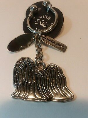 "NEW Canine Collection Silver-Plated ""Lhasa Apso"" Key Chain Ring & Dog Tag"