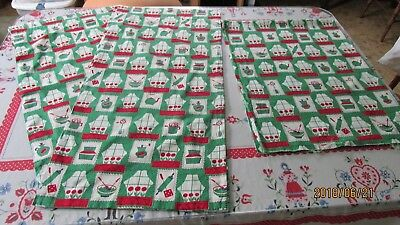 Terrific Vintage 50S Cotton Kitchen Curtains Fabric Home Remodeling Inspirations Cosmcuboardxyz