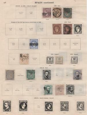 SPAIN: 1864-1875 Examples - Ex-Old Time Collection - Album Page (16796)