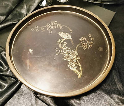 Victorian chinoiserie tray, lacquered and gilt inlaid bird decoration, antique