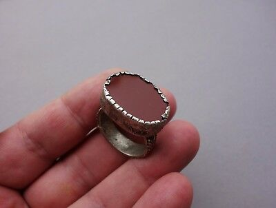 ancient massive silver Byzantine/Middle Ages ring with carnelian gemstone